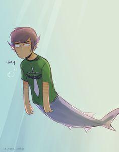 Aquariumstuck Hussie. The shark suits him.