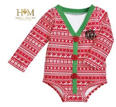 Monogrammed Holiday Baby Onesie - Baby Christmas Gift - Baby Christmas Pajama- Holiday Pictures - Personalized Baby Gift