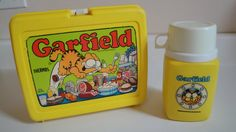 1970s Vintage Garfield Lunch Box  & Thermos Yellow Plastic (Used this for most of Elementary school in the 80's)