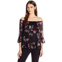 Lucky Brand Women's Off the Shoulder Floral Peasant ($60) ❤ liked on Polyvore featuring tops, blouses, floral peasant top, lucky brand tops, floral tops, off the shoulder peasant blouse and flower print blouse