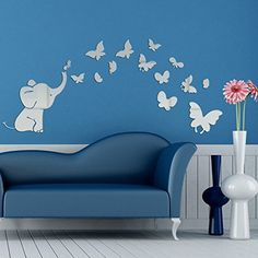 AlrensTM Cute Elephant Butterflies Acrylic Mirror Surface DIY 3D Wall Sticker Babys Room Nursery Decor Creative Mural Decal Art Home Decoration Gift for Kids * Click image for more details.