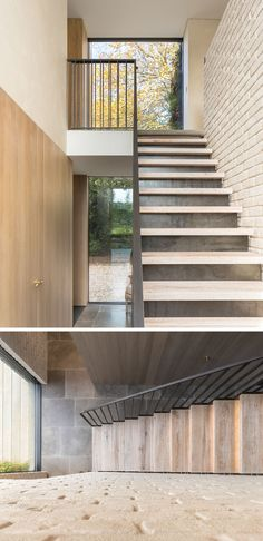 A bespoke raw steel staircase leads to the first floor of this modern house and it sits beside a wall of locally reclaimed brick that's been coated with lime slurry. #SteelStaircase #BrickWall
