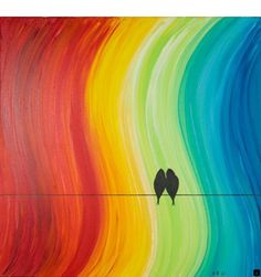 "Original grand acrylique abstrait peinture oiseaux d'amour sur le fil « The… Original large acrylic abstract painting birds of love on the wire ""The Promise"" by QIQIGALLERY Canvas Painting Designs, Simple Canvas Paintings, Easy Canvas Art, Easy Canvas Painting, Cool Paintings, Original Paintings, Painting Art, Kids Canvas, Canvas Ideas"