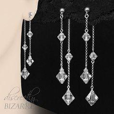 Long+Sterling+Silver+Swarovski+Clear+Crystal+Beads+Pretty+Front+&+Back+Double+Chain+Drop+Unusual+Ear+Jacket+Dangle+Earrings,+Handmade+London