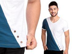 Camiseta com botões de coco | Cód.1038 | Malha flamê em algodão e poliéster, com botões de coco natural.