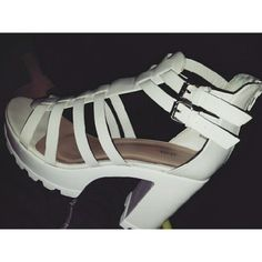 """Thick Gladiator Platform Only in WHITE ! These are really cute only worn once!! These shoes are """"show stoppers"""" , everyone will be focused on you I promise these shoes just makes you wanna get your life !!! JustFab Shoes Platforms"""