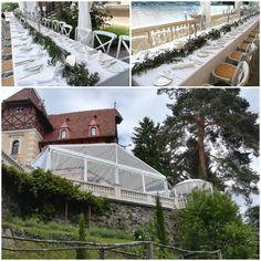 Mit langen Tafeln und Vintage Stühlen, Kerzenleuchter mit Glasaufsatz, Pavillon Vintage Chairs, Gazebo, Garten, Wedding