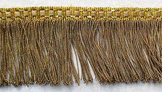 Vintage Gold Metallic Fringe Fine Rope Strands Warm Even Patina  French