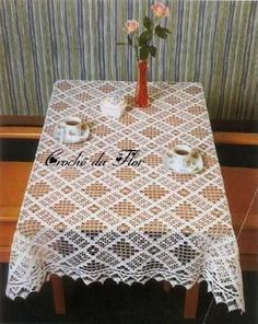 Crochet: 3 Tablecloth For Rectangular Table - Diy Crafts Crochet Tablecloth Pattern, Crochet Curtains, Crochet Fabric, Crochet Doily Patterns, Thread Crochet, Crochet Motif, Crochet Doilies, Diy Crafts Crochet, Crochet Home