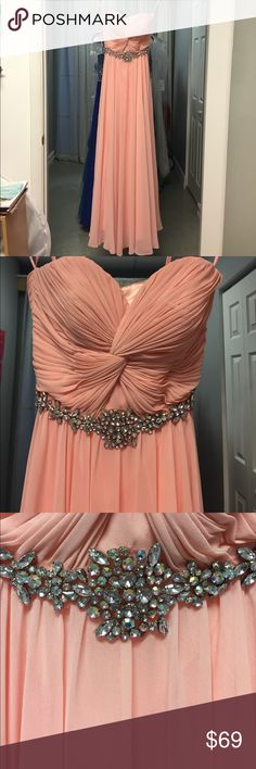 Peach  Chiffon Prom Dress with rhinestones XS Chicas Peach long formal prom gown with beautiful beaded waist line. I'll rhinestones are intact. No holes or stains. Great condition! Size extra small measures 30 bust, 24 waist hips 33 inches. Length is 52 inches from top of bust to hem. chicas Dresses Prom