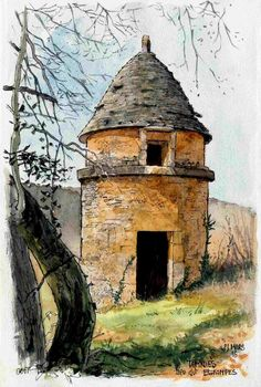 Il y a plein de surprises dans les virages , ce pigeonnier surplombe la route au lieu-dit Estampes ( nom bien à propos ) There are plenty of surprises in the corners, dovecote overlooking the road at a place called Prints (name much about) :) Watercolor Painting Techniques, Watercolor Sketchbook, Pen And Watercolor, Watercolor Landscape, Art Sketchbook, Watercolor Illustration, Watercolour Painting, Landscape Art, Painting & Drawing