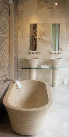 "In this bathroom beautiful Tub and macthing sink of line ""Cono""  #pietrerapolano  www.pietredirapolano.com"