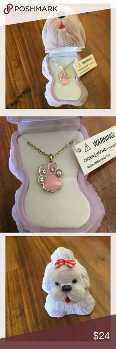 "SALE 🎉Dog Necklace with Velour Box Unique and fun! ""In The Box"" Dazzling Pendants. Bright and sparkling necklaces in the most adorable & cute boxes!  Product features include:     Dog pendant with cat's eye stone Sterling Silver finish Hinged velour dog box 16 inch chain with 2 inch extender Accessories Jewelry"
