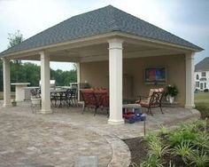 Back Yard Cabana Designs | Cabana with outdoor kitchen, fireplace, and big screen TV located in ...