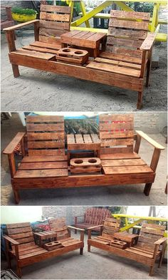 50 Creative Wood Pallet DIY Ideas 50 Creative Wood Pallet DIY Ideas Check out the delightful shine of this useful wood pallet chair idea shown below. It is impressively designed with the old pallets boards. The heart-winning grace of this seating plan Pallet Furniture Designs, Pallet Garden Furniture, Wooden Pallet Projects, Diy Outdoor Furniture, Furniture Ideas, Garden Pallet, Furniture Websites, Furniture Stores, Pallet Designs