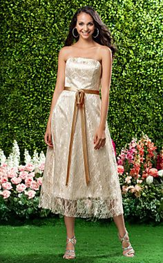 A-line Strapless Sleeveless Tea-length Lace Over Stretch Sat... – USD $ 99.99