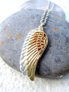 Angel Wings Necklace Silver Gold Men Necklace For by pearlatplay I LOVE THIS