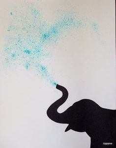 Sprinkle blue jello or kool-aid powder on paper, spray with water and add elephant silhouette!