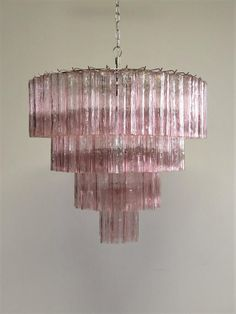 For Sale on - Italian vintage chandelier in Murano glass and nickel plated metal structure on 4 levels. The armor polished nickel supports 78 large PINK glass tubes Vintage Chandelier, Glass Chandelier, Chandelier Ideas, Chandelier Bedroom, Modern Chandelier, Iron Chandeliers, Metal Structure, Star Shape, Polished Nickel