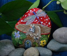Fairy housePainted rockHand painted stoneFairy by NightOwlFineArt