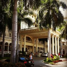 Entrance to the Moana Surfrider Hotel, Waikiki, Oahu. The oldest hotel in Waikiki. It's my dream to stay here on my honeymoon.