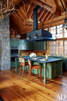 The house was originally designed by architect Theodore K. Guy. Colorado Rustic, the kitchen is outfitted with painted cabinetry and a granite-top island; the flooring is heart pine.   Architectural Digest