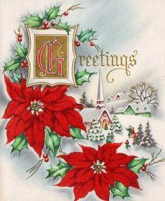 Vintage Christmas card poinsettias and snowy church