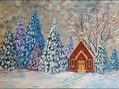 Snowy Winter Landscape Acrylic Painting Tutorial Chapel in a Pine Tree Forest LIVE - YouTube