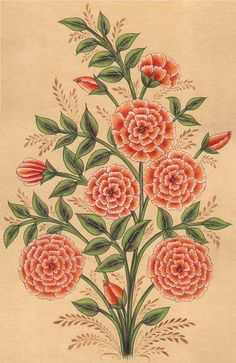 flowers, a composite form, typical of Mughal flower interpretations Botanical Drawings, Botanical Illustration, Botanical Flowers, Botanical Prints, Hibiscus, Mughal Paintings, Turkish Art, Fabric Painting, Pattern Painting