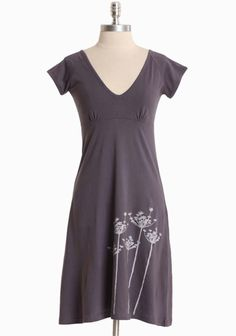 """Dill Meadow Dress By Synergy 58.99 at shopruche.com. Crafted in a luxurious organic cotton knit, this gray dress by Synergy is polished with an organic print, a flattering v-neckline, and a tie at the back neck.100% Organic Cotton, Imported, 36.5"""" length from top of shoulders"""