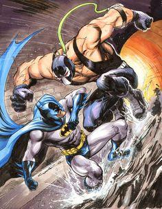 Original Comic Art titled Batman vs Bane by Cinar, located in John's Misc. Batgirl, Catwoman, Nightwing, Bane Batman, Im Batman, Spiderman, Comic Book Characters, Comic Book Heroes, Comic Character