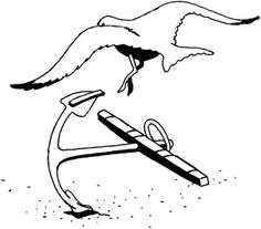 seagull coloring pages | Seagull and anchor coloring page