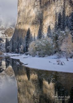 El Capitan and the Merced River after an autumn snowstorm, Yosemite NP, CA, USA.  Michael Frye.
