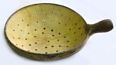 Enameled Pottery Colander French 1800's Heavy Passoire Sieve