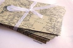 5 kraft envelope vintage old map from Coco Supplies - crochet applique, fabric button, gift tag, clothepins, vintage buttons by DaWanda.com