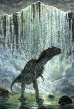 An allosaurus going inside of a waterfall to find a prey item