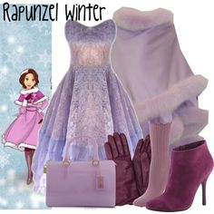 """Rapunzel Winter"" Love the Booties Disney Character Outfits, Disney Princess Outfits, Cute Disney Outfits, Disney Bound Outfits, Disney Dresses, Girly Outfits, Cute Outfits, Disney Clothes, Disney Inspired Fashion"