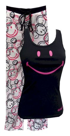 Smiley World Classic Smile Plush Pajama Set  Guaranteed to put a smile on your face, these pajama sets for women feature the original classic smile on a black ribbed tank top. The tank is paired with coordinating super soft plush pnats in an all over smiley pattern. Machine washable and easy to care for. Junior cut. $30