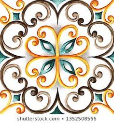 Illustrazione stock 1352508566 a tema Watercolor Majolica Ornament China Painting, Tole Painting, Fabric Painting, Painting On Wood, Mandala Art, Pintura Tole, Arabesque, Painting Process, Mandala Coloring