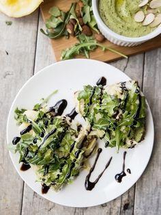 Open-faced lemon pepper artichoke and arugula sandwiches recipe