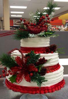 Christmas wedding cake. 3 tier in buttercream.