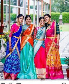 Planning to shop silk half sarees? Here are 20 colorful half saree designs and how to style it with utmost elegance. Half Saree Lehenga, Kids Lehenga, Lehenga Style, Lehnga Dress, Saree Look, Anarkali, Lehenga Blouse, Dress Skirt, Half Saree Designs
