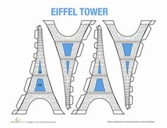 Aspiring architects, here is a tricky paper craft that will keep you busy! Build a paper model of the Eiffel Tower; all you need are some scissors and glue. Tour Eiffel, Eiffel Tower Craft, Tower Models, Five In A Row, World Thinking Day, Paris Birthday, School Worksheets, Fun Worksheets, French Classroom