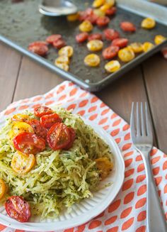 Pesto Spaghetti Squash with Roasted Tomatoes