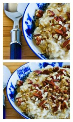 Slow Cooker Steel-Cut Oats Recipe with Agave and Pecans from Kalyn's Kitchen; this is an easy and delicious breakfast.  [via Slow Cooker from Scratch] #SlowCooker  #SteelCutOats