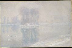Ice Floes - 1893.   Claude Monet / The prolonged freeze and heavy snowfalls in the winter of 1892–93 inspired Monet to capture their effects on the Seine in a series of paintings for which he chose a vantage point not far from his home in Giverny.
