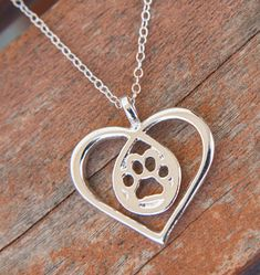 Paw in heart silver necklace