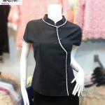 เสื้อผ้าไทยสีดำ เสื้อผ้าฝ้ายสีดำ เสื้อใส่ผ้าซิ่นสีดำ เสื้อผ้าฝ้ายสีดำคอจีนแต่งกุ้นขาวกระดุมหน้า