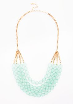 Tier to Stay Necklace in Mint. Once this ModCloth-exclusive necklace graces its first ensemble, you wont want to accessorize without it! #mint #modcloth