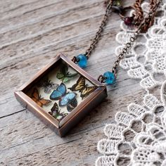 Butterfly Collection Necklace Copper Lepidoptera Miniature Natural History Entomology